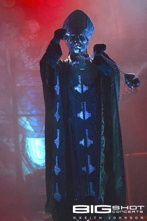 Papa Emeritus II casts a rock and roll spell