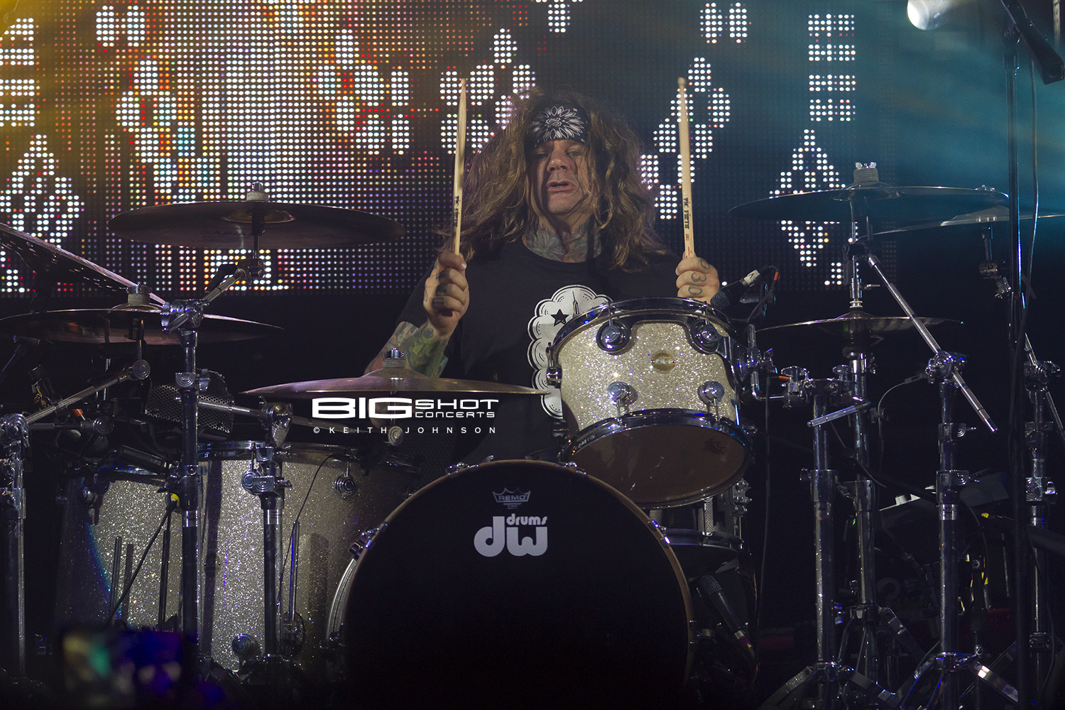 Drummer Stix Zadinia plays with Steel Panther