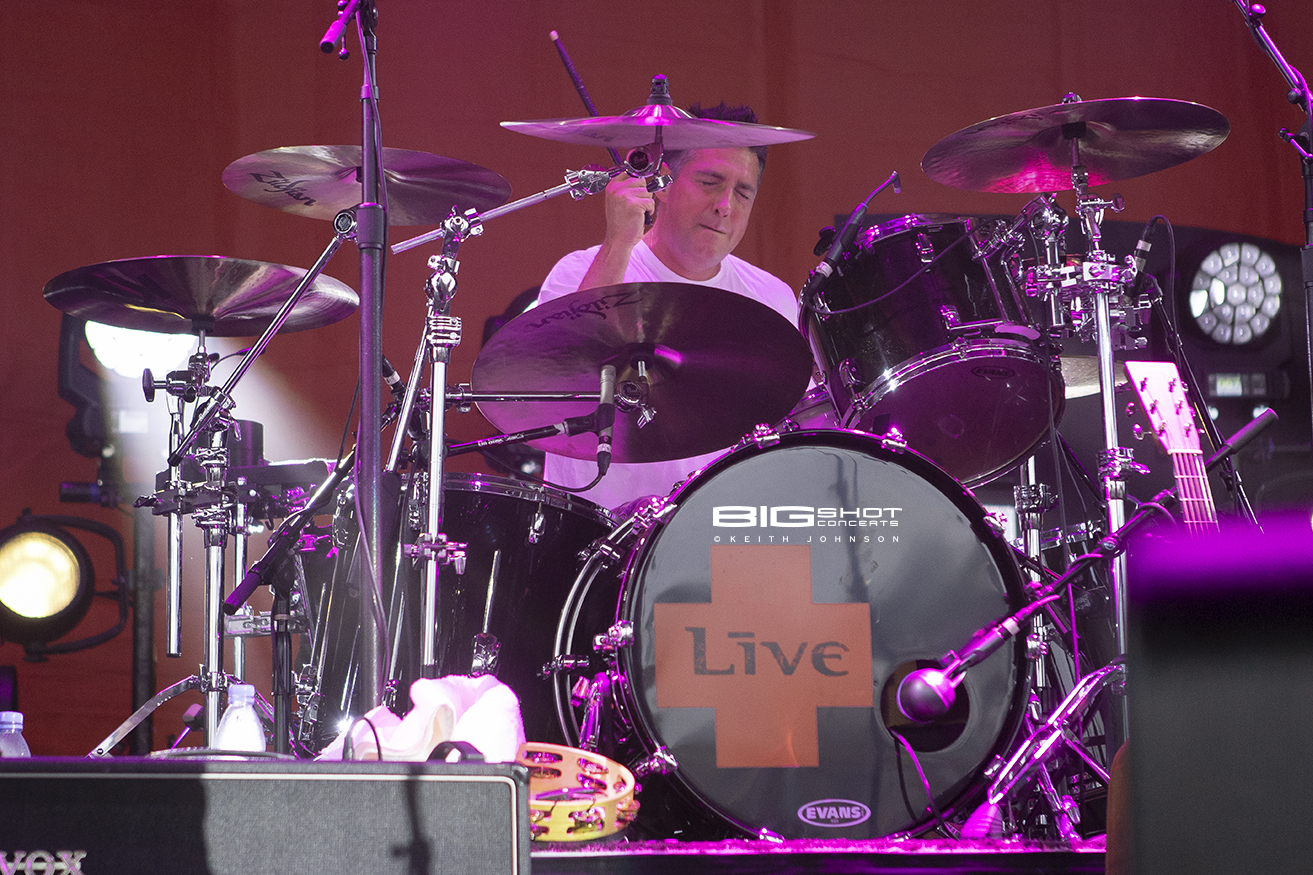 Chad Gracey plays drums during LIVE summer tour 2018