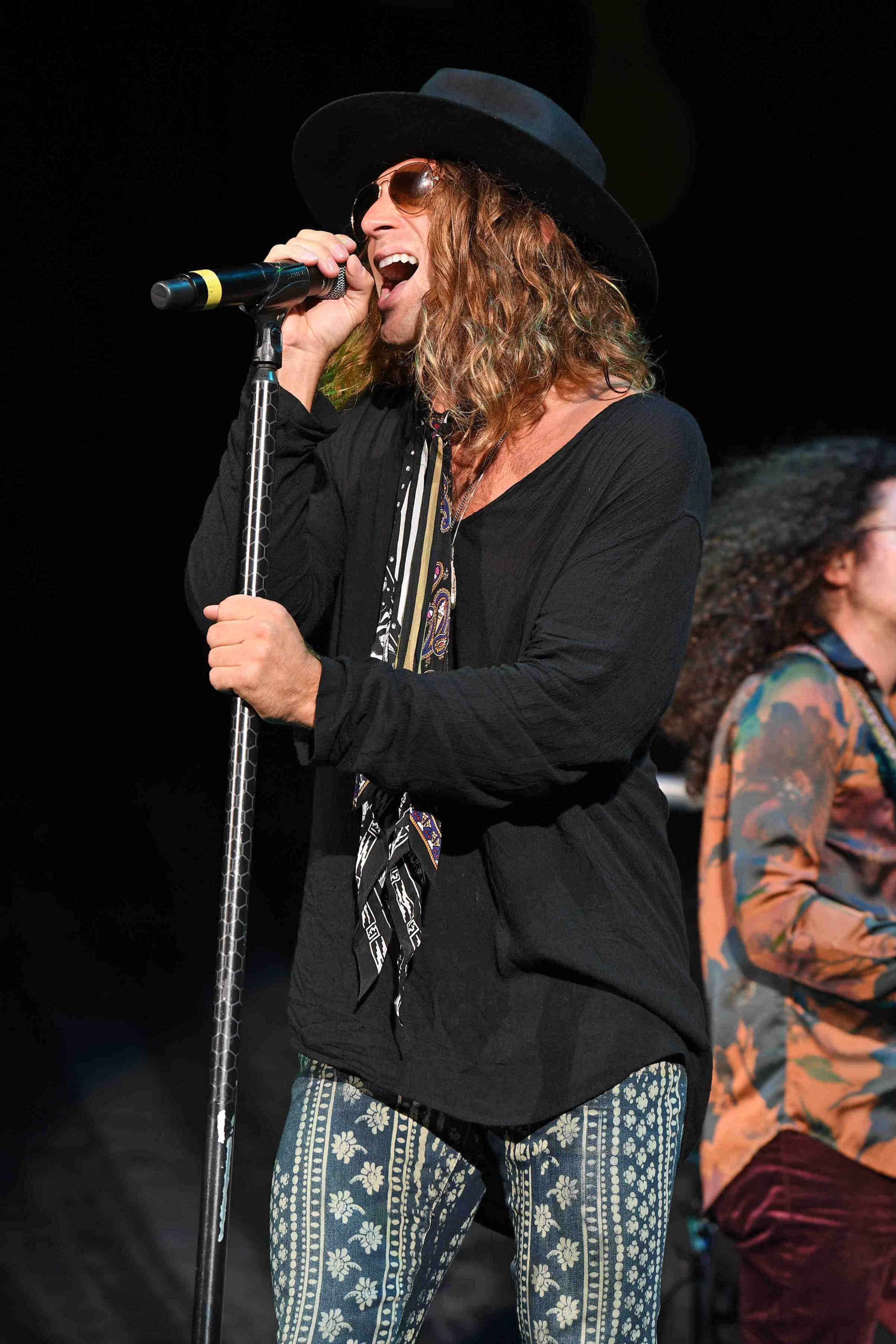 Dirty Honey Singer Marc LaBelle on stage at iTHINK Financial Amphitheatre